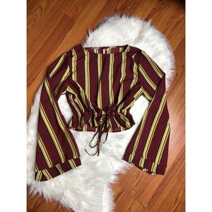 Charlotte Russe Striped Bell Sleeve Top